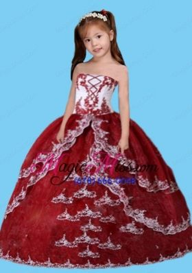 Luxurious Ball Gown Appliques Little Girl Pageant Dress in Wine Red