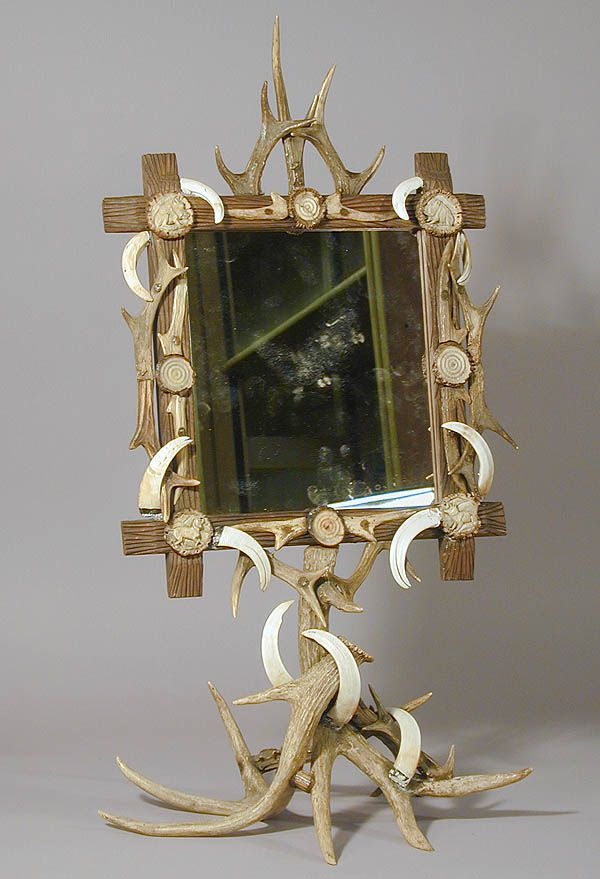 rare table mirror, carved wood frame decorated with antlers, wild ...