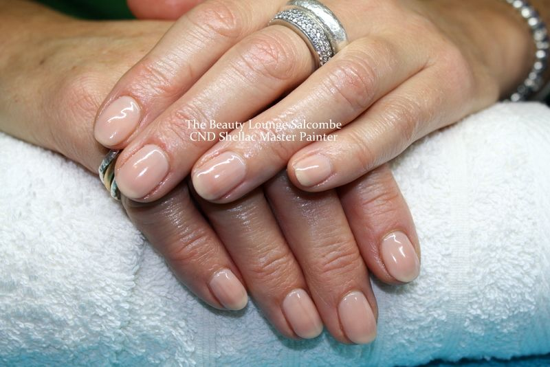 CND Shellac nails in Powder my Nose. A beautiful sheer nude ...