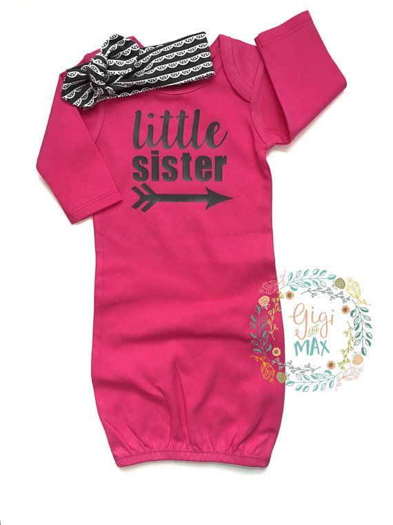 Baby girl Gown Little Sister READY TO SHIP Hot Pink and Black baby ...