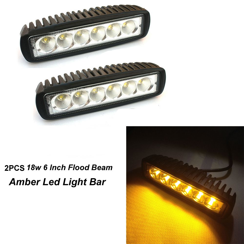 18w 6 Inch Flood Beam Amber Led Fog Light Bar Lighting Led Work Light Led Fog Lights