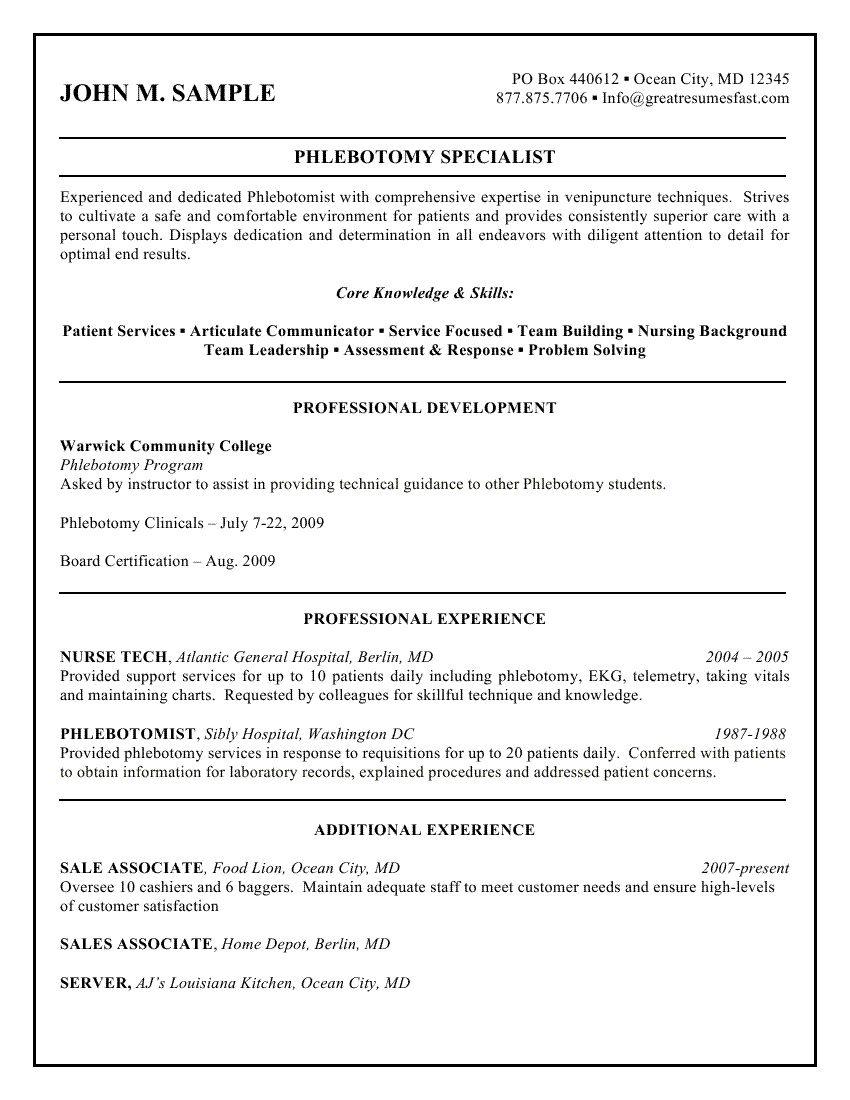 Sample Phlebotomist Resume 1250 Http Topresume Info 2015 01
