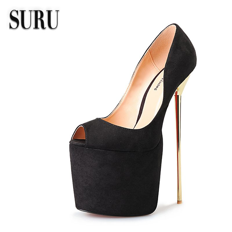 01032df5dc5 SURU- Sexy 22cm High Heels Gold Metal Heel Pumps Woman Red Peep Toe Wedding  Stiletto Platform Heels Plus Size 8.5 - 16 HSMA8