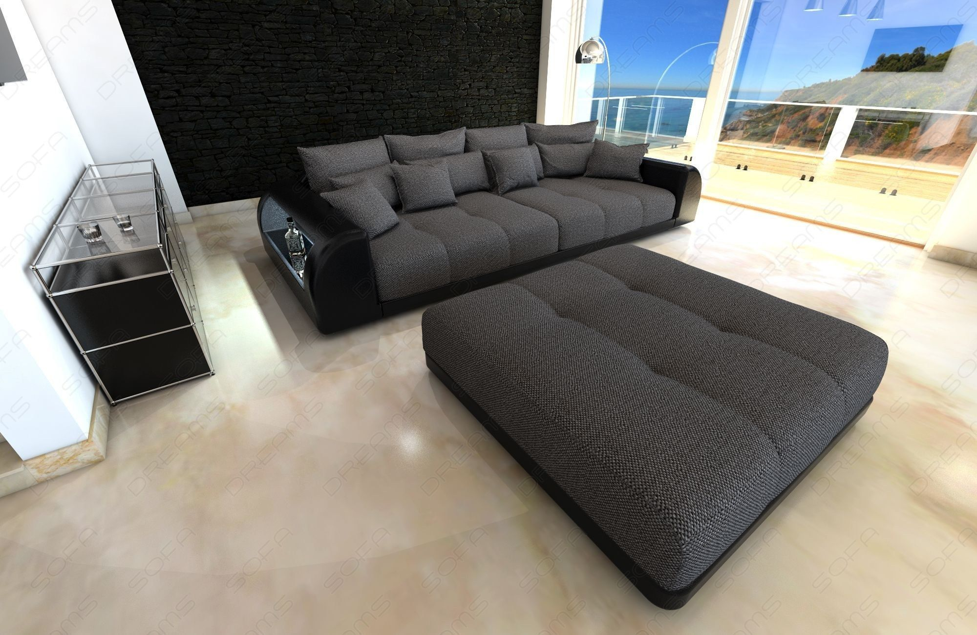 Fabric Big Sofa Miami with LED in 2019 | Big sofas, Sofa bed ...