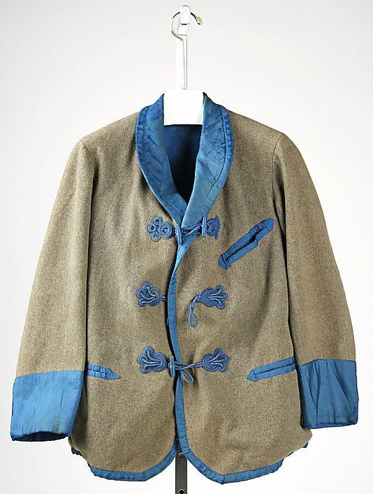 Smoking jacketDate: 1860s Culture: American or European Medium: wool, silk
