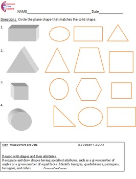 Second Grade Common Core Math Worksheets Geometry 2 G A 1 2 G A 2 2 G A 3 Common Core Math Worksheets Common Core Math Math Worksheets