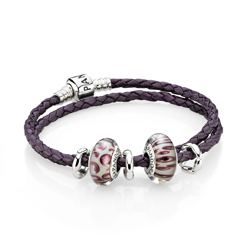 Leather Bracelet With Charms: Purple Leopard Leather Bracelet With Murano Glass Charms