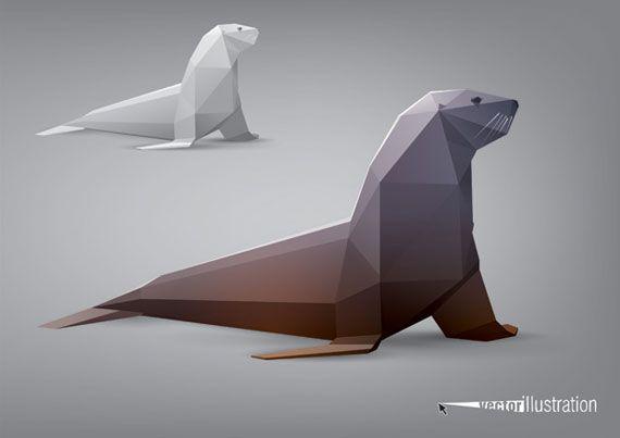 origami otarie animal g om trique dessin origami origami et animaux geometrique. Black Bedroom Furniture Sets. Home Design Ideas