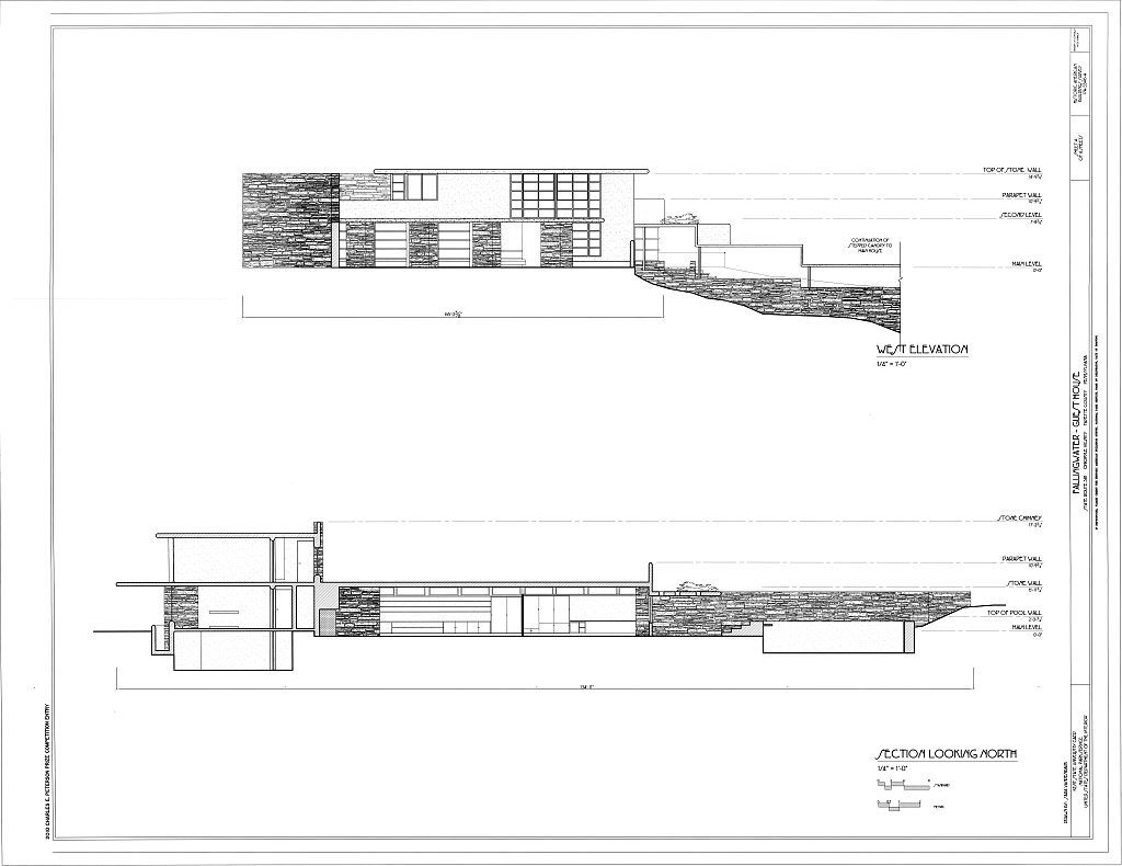 Elevation Plan Scale : Scale drawings sections elevations fallingwater