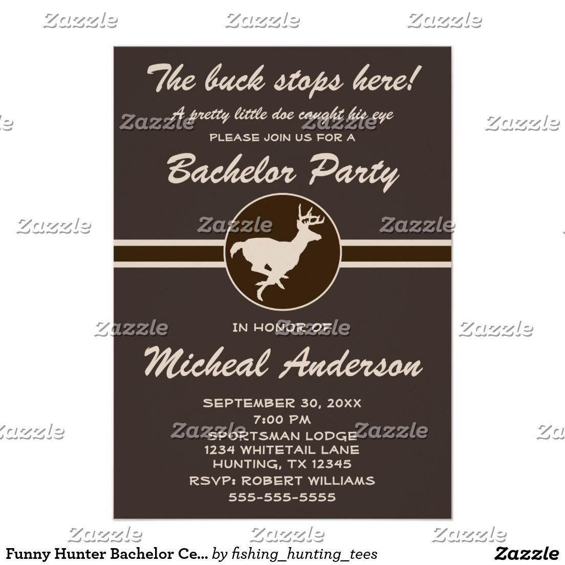 Funny Hunter Bachelor Celebration Invitation Zazzle Com Bachelor