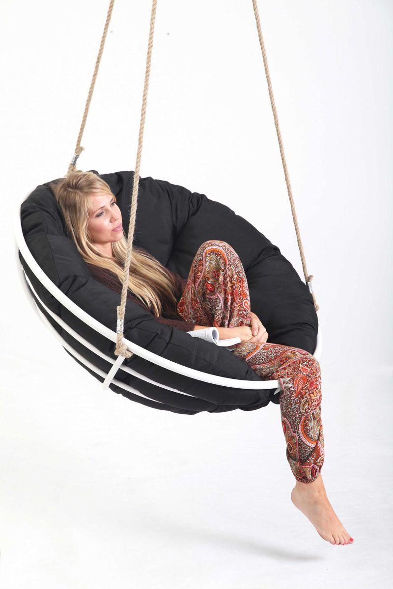 Hanging Papasan Swing Chair In Black White Swinging Chair Hanging Furniture Hanging Papasan Chair
