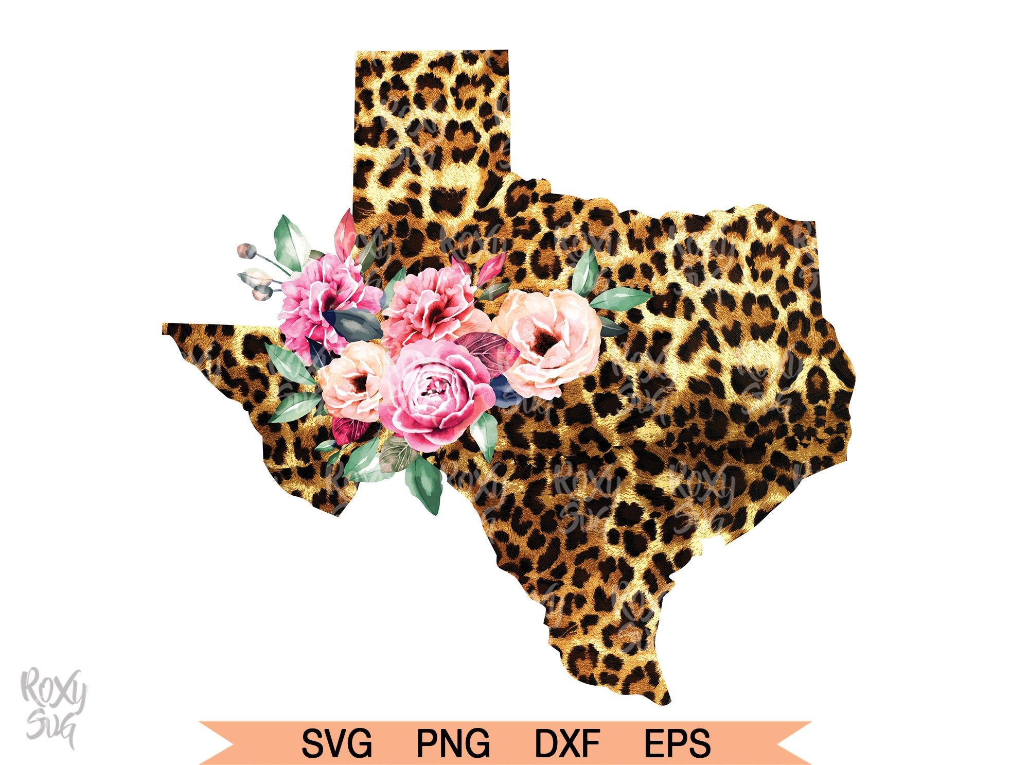 Cheetah And Floral Texas Clipart Sublimation Designs Etsy Clip Art Star Wars Font Artwork