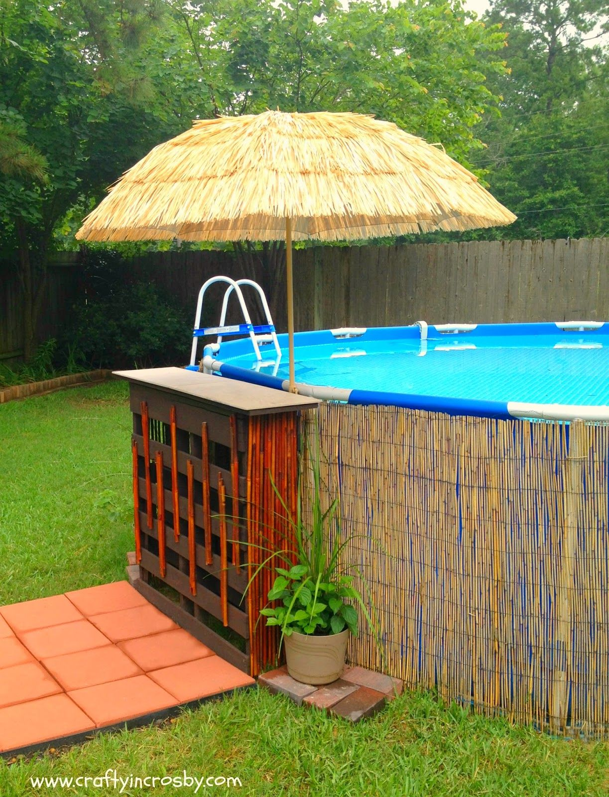 Tiki bar for the redneck swimming hole made from pallets for Above ground pool setup ideas