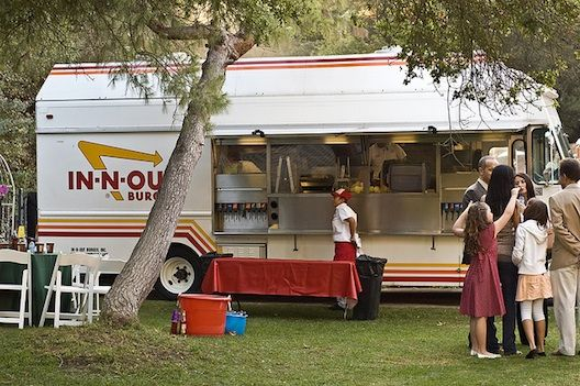 Trend Alert Food Trucks Catering Hipster Weddings Now Food Truck Wedding Food Truck Catering In And Out Burger