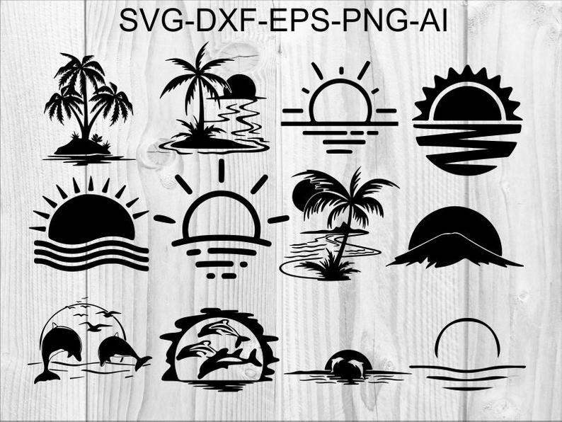Sunset Svg 1 Sun Palm Beach Sea Ocean Dolphin Etsy Digital Clip Art Svg Graphic Illustration