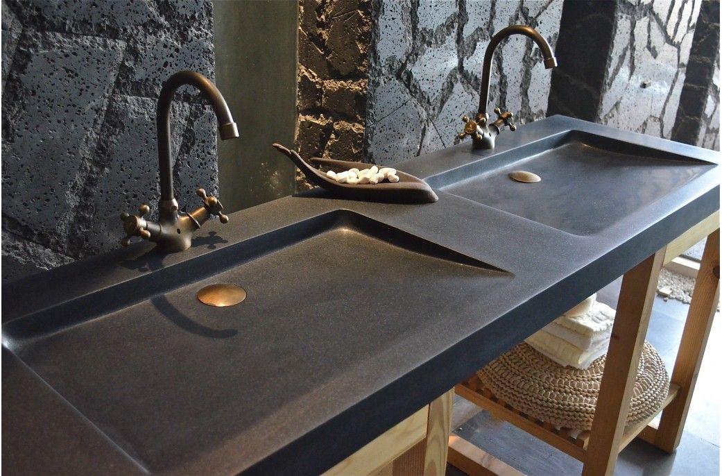 double vasque en pierre folege shadow granit noir vritable 160x50 - Double Vasque En Pierre