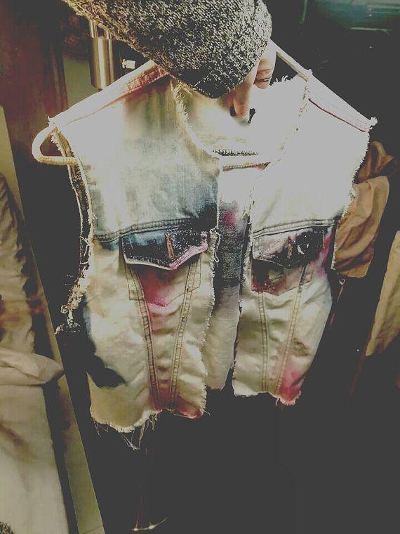 Jean Jacket Vest mystical magical vintage unique faded by Linedeux