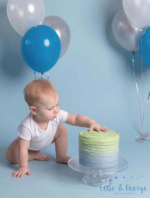 Preston cake smash blue with balloons Lancashire