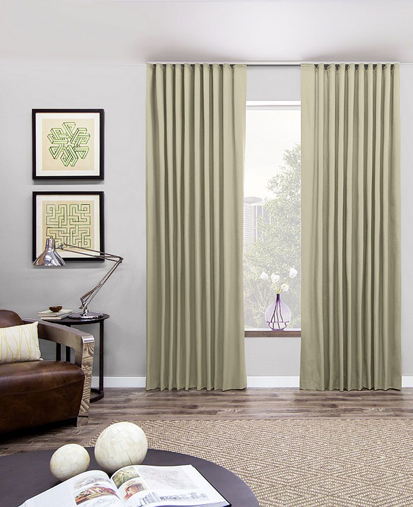 Custom Ripple Fold Curtains Drapes Material Canvas Color