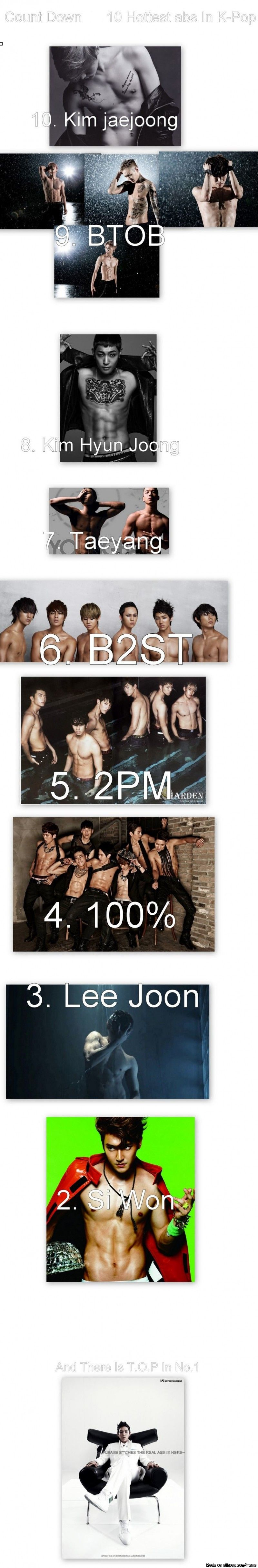 TOP 10 Kpop ABS I love how all the others can't seem to keep a shirt on but the one that can is number 1