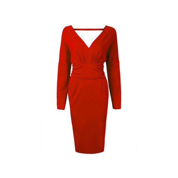 Red backless pencil dress