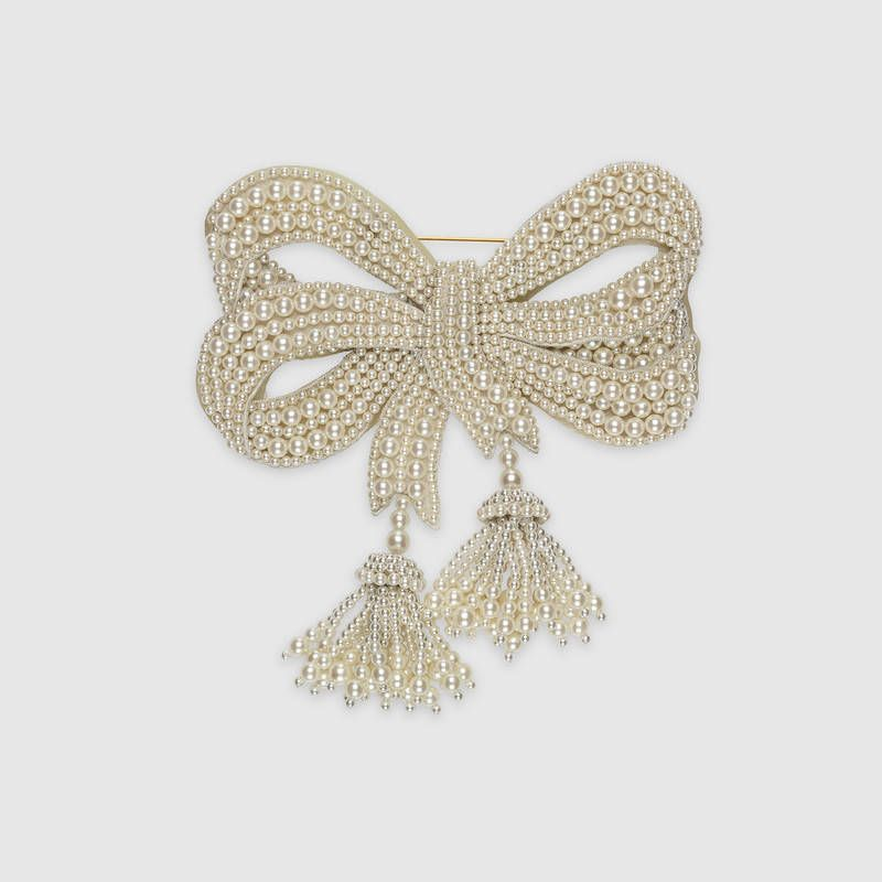 Gucci Resin pearl bow brooch bmwxzOPc55