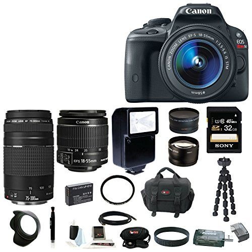 Canon EOS Rebel SL1 Digital SLR with 18-55mm IS STM Lens + 75-300mm f/4.0-5.6 EF III Lens + 2.2x Pro Telephoto Lens + 0.43x Wide Angle Lens + Slave Flash + 32GB SDHC Deluxe Accessory Bundle Canon http://www.amazon.com/dp/B00GW2O5PG/ref=cm_sw_r_pi_dp_MlzOvb17YSTRX