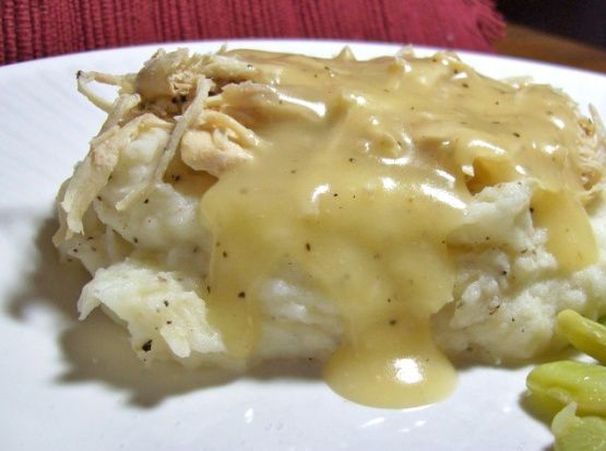 recipe: chicken and gravy over mashed potatoes [29]