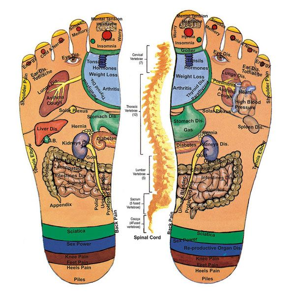 A Diagram Showing How Foot Massage Effects Different Areas Of The