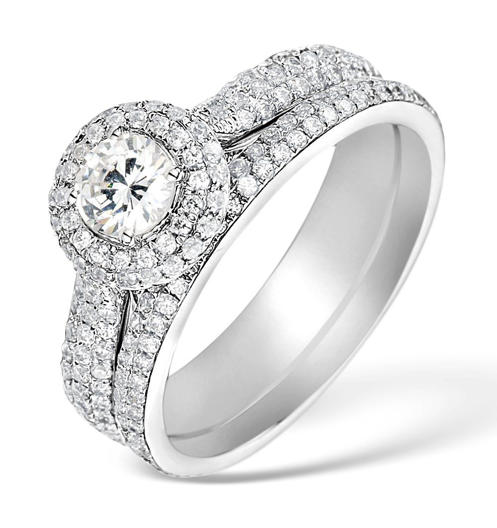 Matching Diamond Engagement Wedding Ring 1.50ct VS1 18K