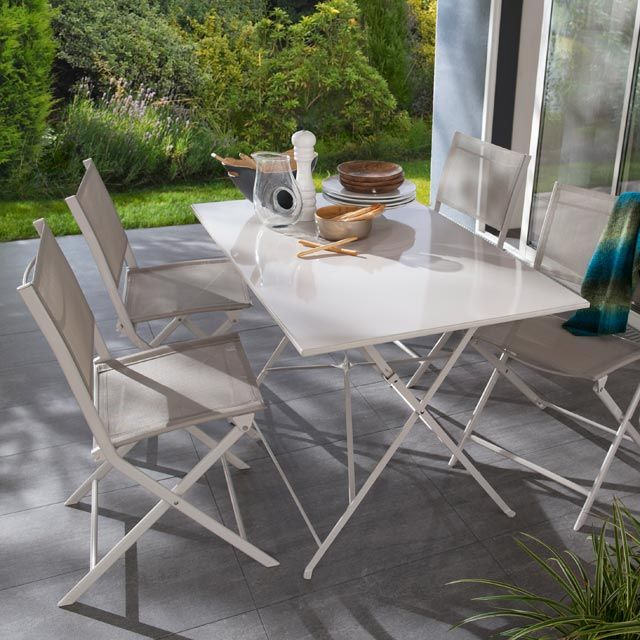 Table Saba 110 x 70 cm beige - CASTORAMA | Table de jardin ...