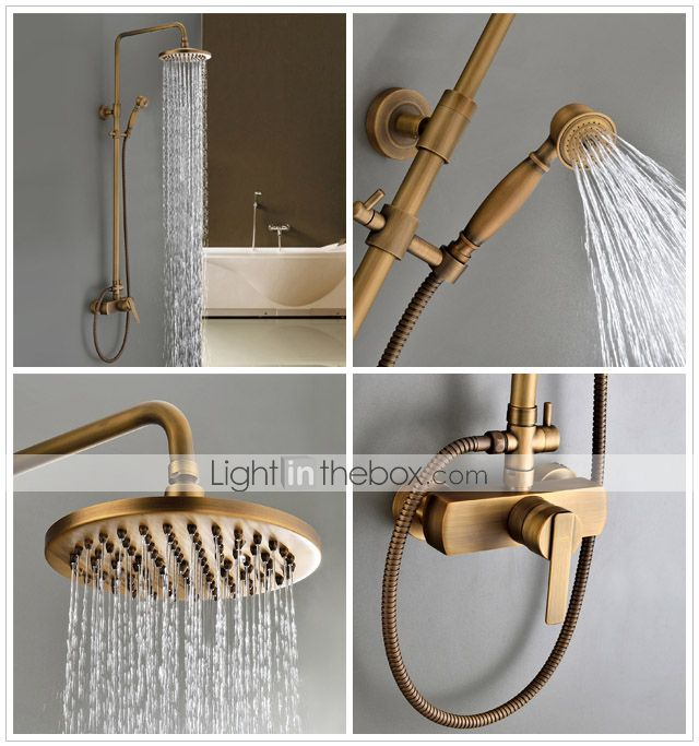 Photo of Sprinkle® by Lightinthebox – Antique Brass Tub Shower Faucet with 8 inch Shower…
