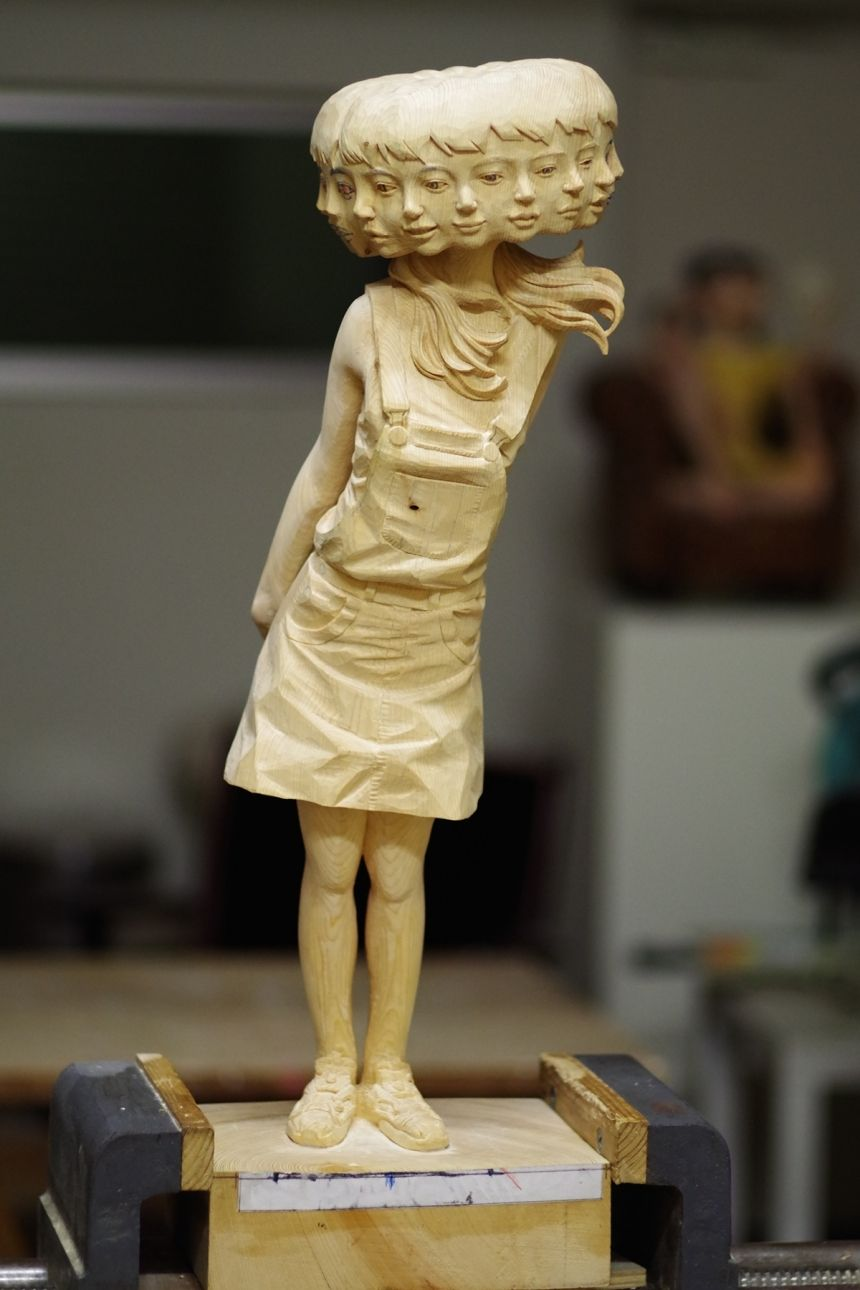 Incredible Sculptures Of Women Carved From Wooden Blocks With - Taiwanese sculpture uses wood to create sculptures of people effected by pixelated glitches