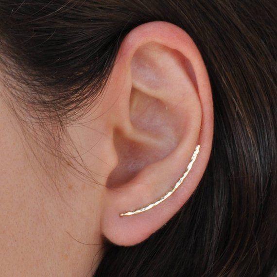 cae0b6fc6af3a Curved Bar Pin Earrings, Sterling Silver Ear Cuff, Bar Ear Sweep ...