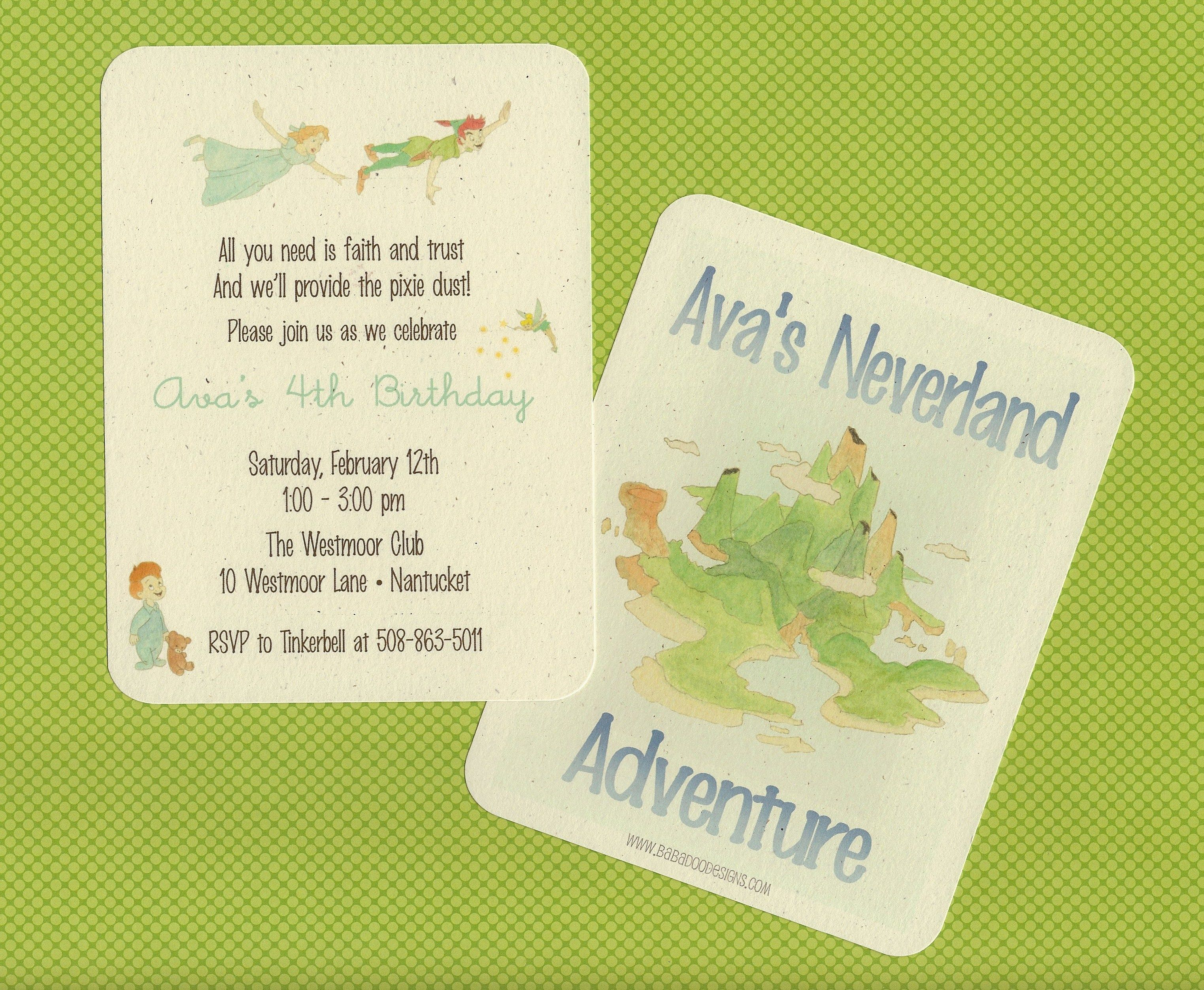 Neverland Invitation. Peter Pan, Wendy, Tinkerball with Printed ...