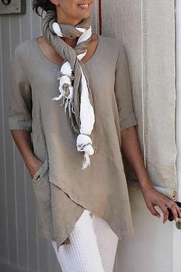 Photo of Cotton Cross Front Pocket Design Blouse