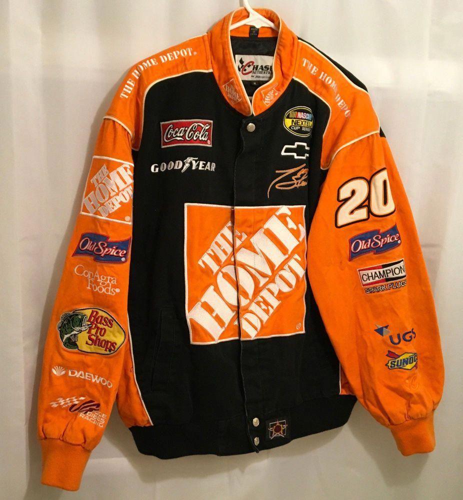 Tony Stewart Nascar Racing Home Depot 20 Twill Cotton Logo Jacket Men 039 S Medium Sports Mem Cards Fan Shop Fan Appa In 2020 Cotton Logo Nascar Outfit Jackets