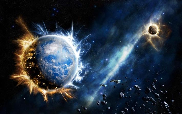 Scarica Sfondi Galassia La Terra 4k Stelle Asteroidi Universo
