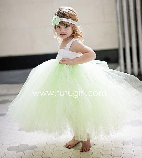 70f385f5b0d07 Mint Green Flower Girl Tutu Dress White Lace Mint by TutuGirl ...
