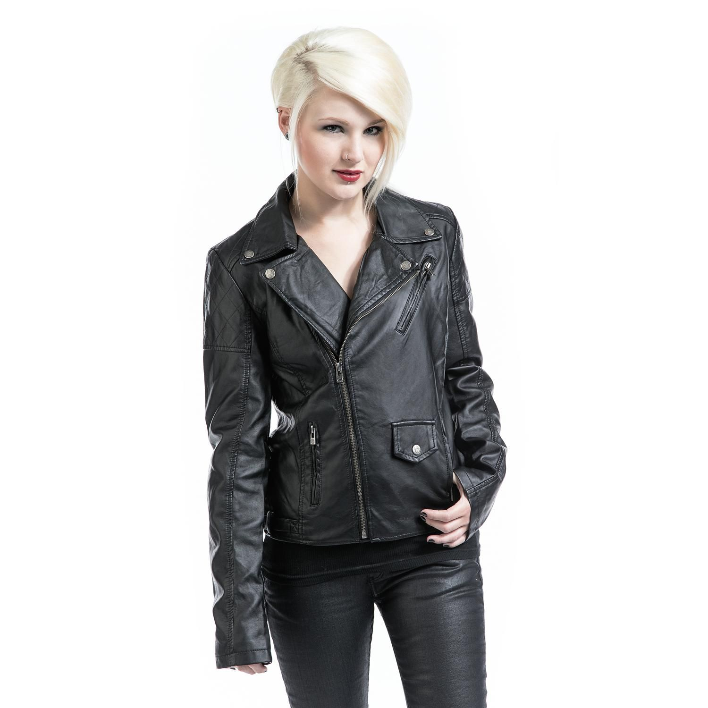 Biker Jacket - Girlie kunstlæder jakke af EMP Black Premium - Artikelnr.: 249605 - fra 849,95 kr - EMP Danmark ::: Merchandise ::: Streetwear ::: Modetøj