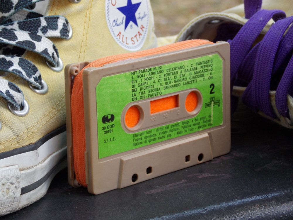 Purse made from an old cassette tape. €18.00, via Etsy.