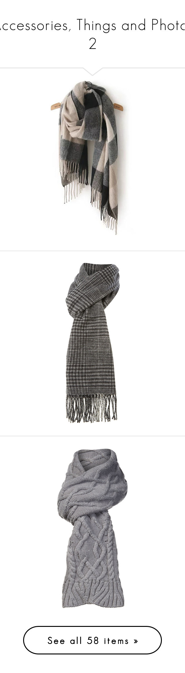 """""""Accessories, Things and Photos 2"""" by myfanficmanips ❤ liked on Polyvore featuring accessories, scarves, multicolor, grey scarves, gray scarves, tartan scarves, tartan plaid shawl, colorful scarves, black and scarves & wraps"""