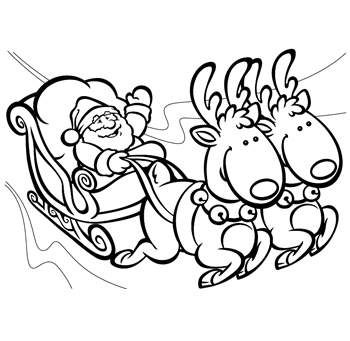 Santa and his sleigh coloring pages santa sleigh and for Santa with reindeer coloring pages