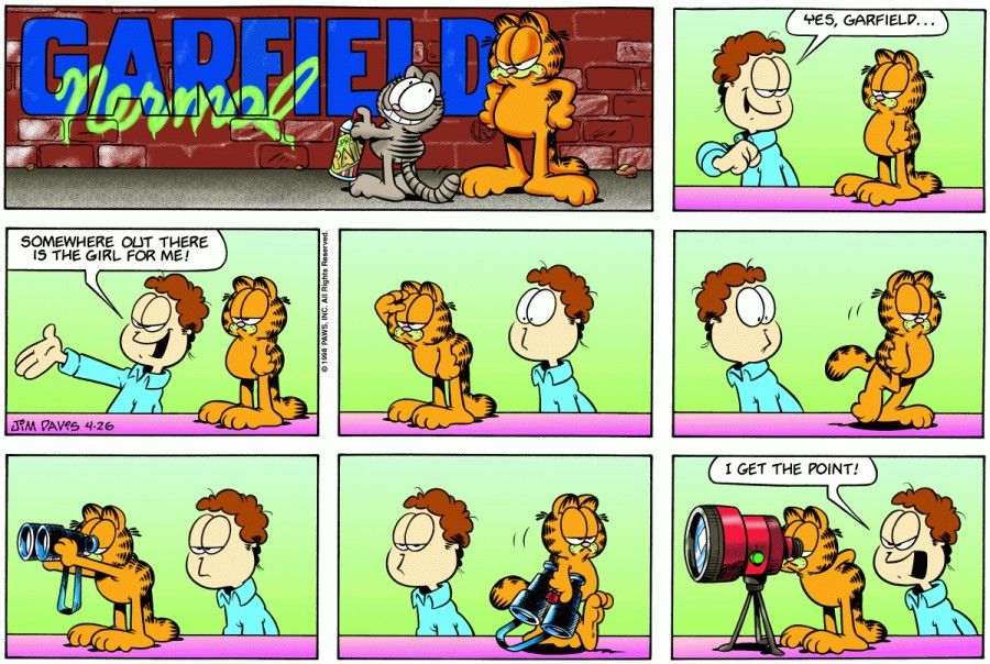 garfield comic strip analysis Garfield is a fictional cat and the protagonist of the comic strip garfield, created by jim davis the comic strip centers on garfield, portrayed as a lazy, fat, and.