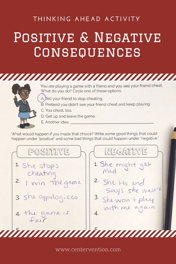 Think Ahead Activity: Positive and Negative Consequences | School