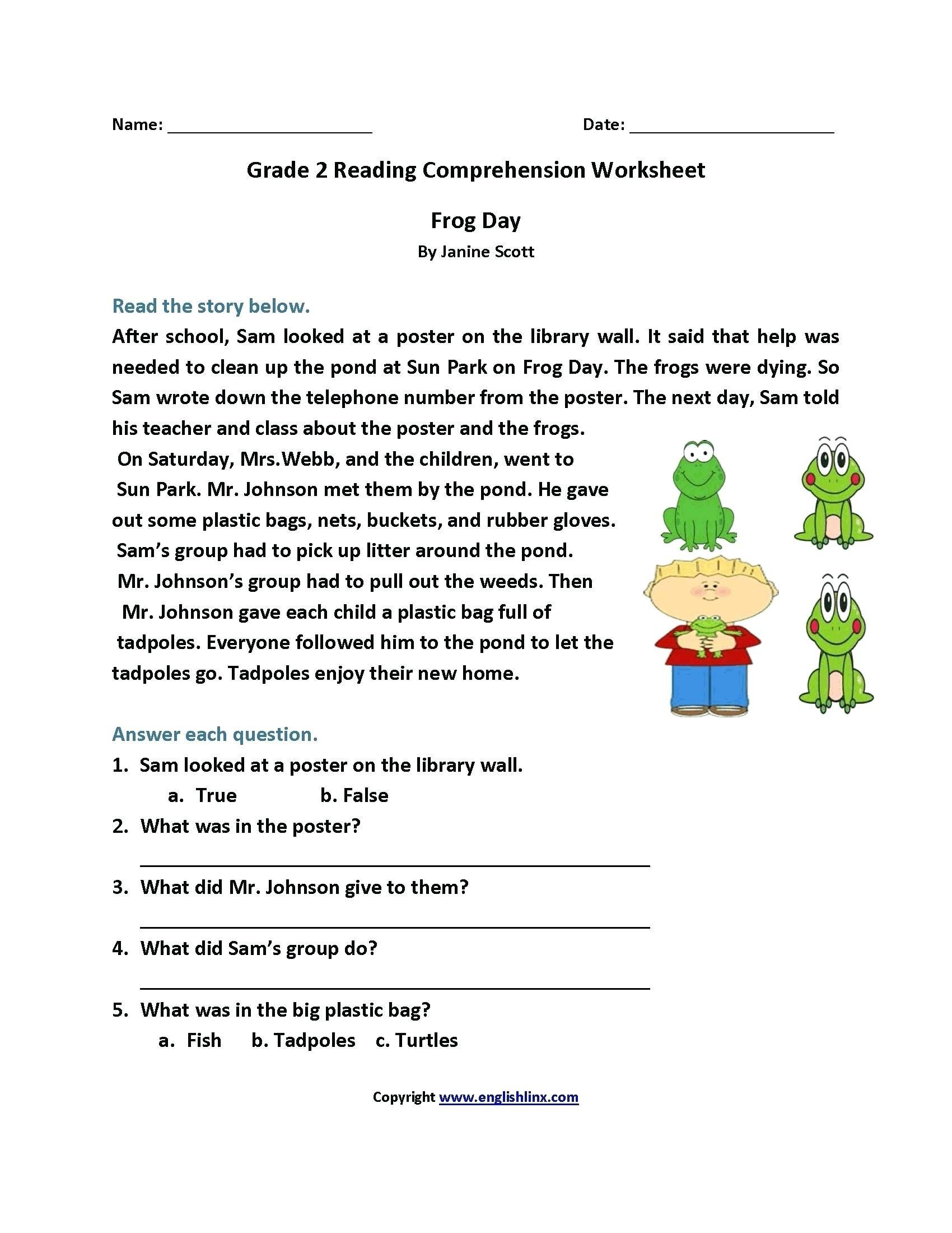 3 Worksheet Reading Comprehension Worksheets Second Grade