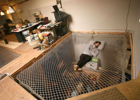 Hammock Bed This Gave Me An Idea Wouldnt It Be Fun If I Was Rich To Have A Huge Kids Playroom With Built In Indoor Trampoline For The