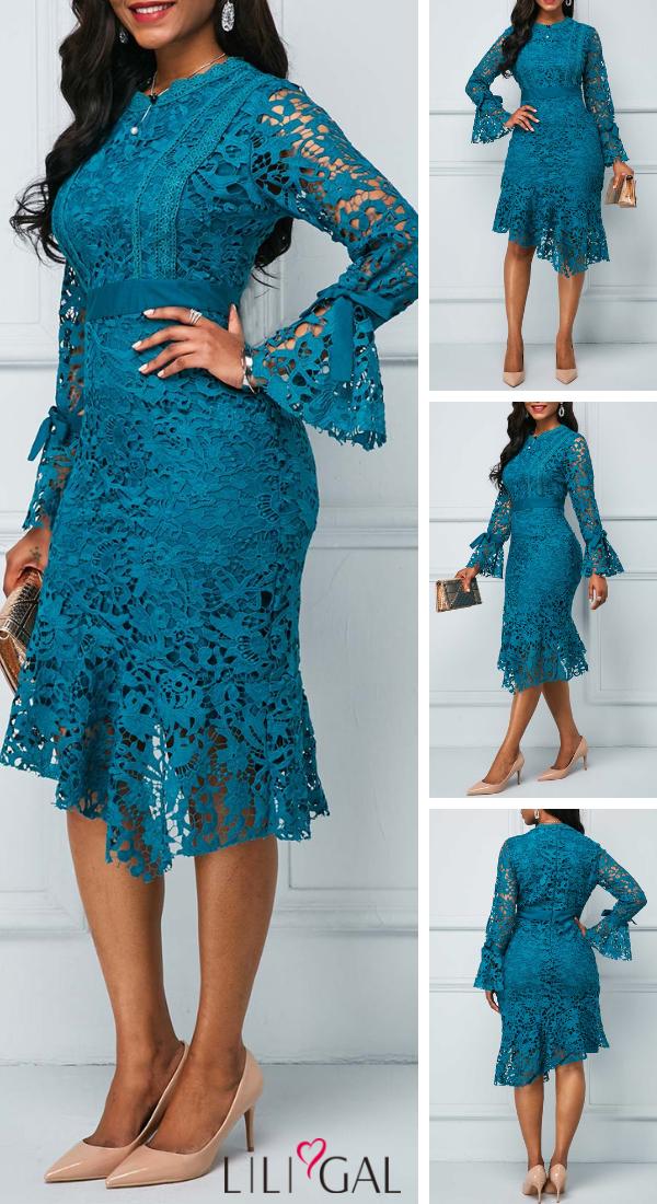 Usd33 24 Flare Sleeve Peacock Blue Asymmetric Hem Lace