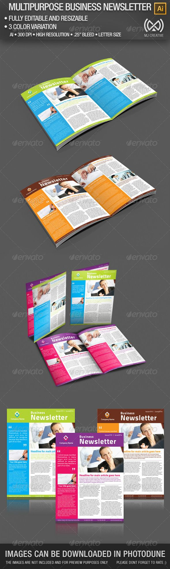 Pages Multipurpose Business Newsletter Print Templates - Multi page newsletter templates