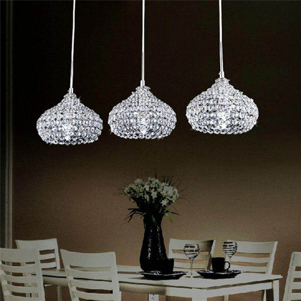 Dinggu Chrome Finish Modern 3 Lights Crystal Chandelier Pendant